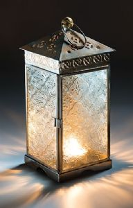 Lantern~ Hippy Bohemian Large Square Hooked Lantern with Textured Clear Glass~ By Folio Gothic Hippy LT93